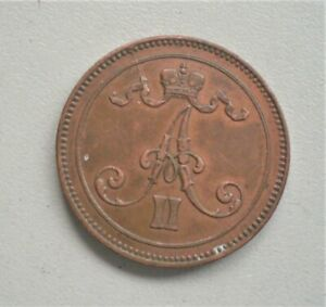 Finland  1867  10 Pennia,, Extremely Fine condition, 30 Diameter {G700}