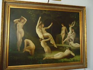 "Large Vinatge Oil/Canvas "" BEAUTIFUL NYMPHS PLAYING "" Very Decorative. By Austin"