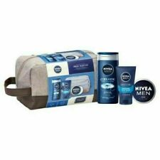 Nivea Men Gift Set Fresh Wash Kit Present Shower Gel/Face Wash/Creme/ Wash Bag