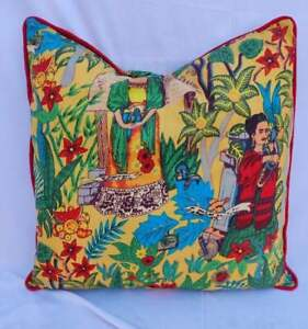 20x20 Yellow Frida Khalo With Red Piping Indian Cushion Covers Sofa Pillow Cases
