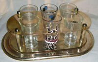 Vintage Set of 6 Shot Glasses w/ Silverplated Tray