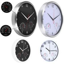 Wanduhr mit Thermometer Hygrometer Innen Uhr analog Leise Lautlos Modern