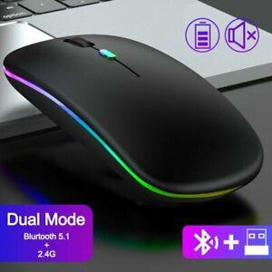 PC USB Maus Kabellos Bluetooth + 2.4Ghz Mouse Computer Notebook Laptop Funkmaus