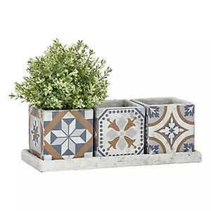 Fallen Fruits Portuguese Tiled Effect 3 Square Pots on a Tray • New With Defect