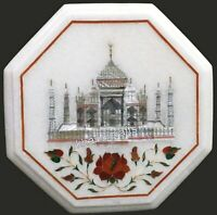 09 Inches Marble Patio Table Top with Taj Mahal Replica Inlaid Coffee Table Top
