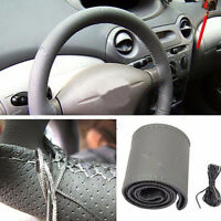 New GREY Leather Steering Wheel Cover With Needles & Thread DIY SIZE M USA
