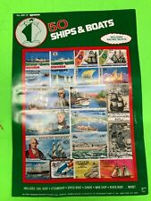 LOT OF 500 STAMPS SHIPS AND BOATS SAIL BOAT CANOE WAR SHIP SPEED BOAT RIVER BOAT