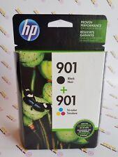 HP 901 Black + 901 Tri-Color Ink Cartridges New in Box Genuine retail