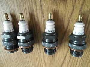 "4 Vintage AUBURN Spark Plugs 7/8""-18 thread Ford Chevy Dodge Studebaker to 1932"