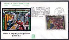 FRANCE FDC - 1531 3 TABLEAU VITRAIL EGLISE SAINTE MADELEINE - flamme 1967