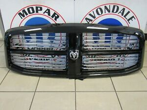 Dodge Ram 1500 2500 3500 Brilliant Black Grille Chrome Inserts NEW OEM MOPAR
