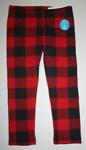 New Carter's 8 year Girls Fleece Leggings Cozy Red Black Check Pants Comfy