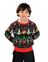 SoCal Look Boys Ugly Christmas Sweater Snowman T-Rex Candy Pullover Black