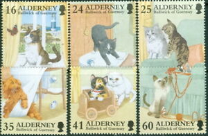GB - ALDERNEY 1996 In Praise of the Cat SG A89-A94 MNH FELINES DOMESTIC PETS