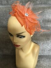 Brand New Orange Small Fascinator Ideal For Races, Wedding, Etc