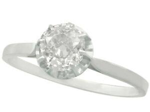 Antique French 1.70Ct Old Cut Diamond 18k White Gold Solitaire Engagement Ring