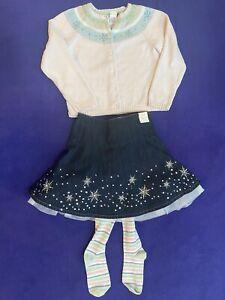NWT Gymboree SNOW PRINCESS Tulle Denim Snowflake Skirt sz 7 bonus sweater+tights