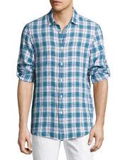 New Mens Michael Kors Alexander Phone Blue Plaid Slim Fit Linen Sport Shirt