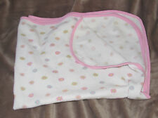 GERBER BABY GIRL RECEIVING BLANKET WHITE PINK THERMAL COTTON FLOWER YELLOW BLUE