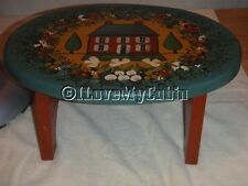 Small Wood Wooden Hand Tole Painted Decorative Foot Stool Footstool Red Blue