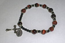 "Men's Tiger Eye Stretch Rosary Bracelet ~ 8"" (T800)"