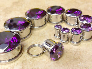 PAIR Large Purple Gem Screw Fit Tunnels Plugs Gauges - select size 6g up to 20mm