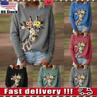 Womens Ladies Giraffe Blouse Shirt Jumper Loose Long Sleeve Sweatshirt Tops