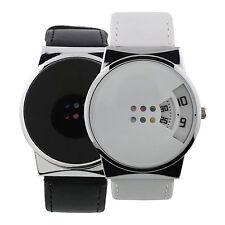Reloj Pulsera Moderno Cuero Imitación Hombre Mujer Caja Aleación Digital Lujoso