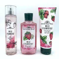 Bath & Body Works Wild Strawberry Mist, Body Cream, and Shower Gel 3-Piece Set