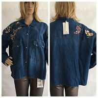 Zara Blue Denim Floral Embroidered Oversized Shirt With Front Flap Size S RRP£40