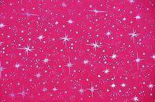 "Pink Sheer Organza Shooting Star Print Fabric - Sold By The Yard - 58"""