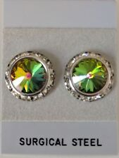 Vitrial Medium Pierced Earrings with horse show numbermagnets Swarovski Crystals