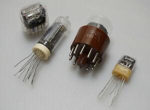 4 Stück Nixie-Tube, Nixie-Röhre, Sammlerset IN-1, IN-12, IN-14, IN-17