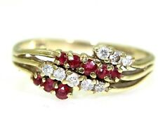 Natural Ruby & Diamond Wave 9ct Yellow Gold ring size M 1/2 ~ 6 1/2
