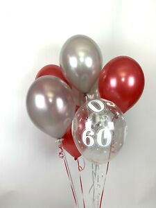 30 Red, Silver and 60th Aged Range Pearlised Latex Balloons with Curling Ribbon