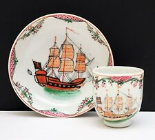 18th c Antique Chinese Export Famille Rose Porcelain Cup & Saucer w Sailing Ship