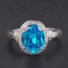 585er WeißGold 1,65Kt Natürlicher Blauer Topas EGL Zertifizierter Diamant ring