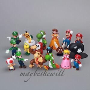 "2"" Super Mario Bros 18 pcs Figure Set Q Version Dolls Collection Classic Kid Toy"
