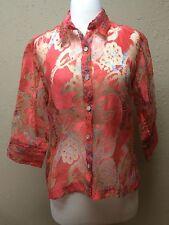 Women's Mirasol Pink Abstract Sheer Top MEDIUM 3/4 Sleeve Button Blouse Shirt