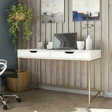 Modern  Computer Desk with 2 Drawers, White/Gold