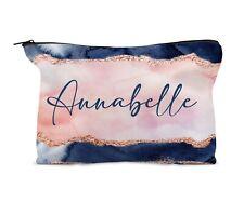 Personalised Make Up Bag, Travel bag. Navy Peach Blush 13th 16th 18th 21st Gift
