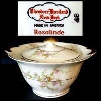 THEODORE HAVILAND ROSALINDE NEW YORK SUGAR BOWL RED STAMP