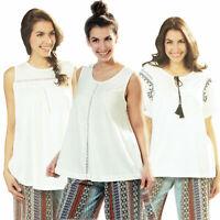 Damen Top Shirt locker Sommer Freizeit Viskose Spitze Kordel ÖkoTex Strandmode