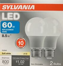 2 SYLVANIA 8.5-Watt / 60W Equivalent A19 Medium Base Soft White LED Bulbs - NEW