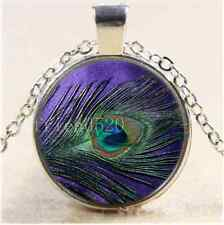 Purple Peacock Feather Cabochon Glass Tibet Silver Chain Pendant Necklace