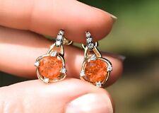 LeVian Fire Opal Chocolate Diamond Earrings Orange Pierced 14K Yellow Gold NEW