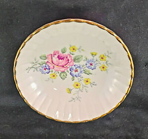 Rare Vintage FOREIGN Trinket Dish or Pin Dish with 22K Gold Plated Rim