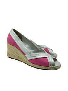 Lilly Pulitzer Via Palm Beach Women's Pink Silver Espadrille Wedge Shoes Sz 6.5