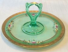 Rare Diamond Glassware Emerald Green Gold Gilt Enamel Flowers Handled Plate