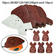 50pcs Mouse Sanding Sheets 40-240 Grit Sandpaper Pads Discs For Black&Decker